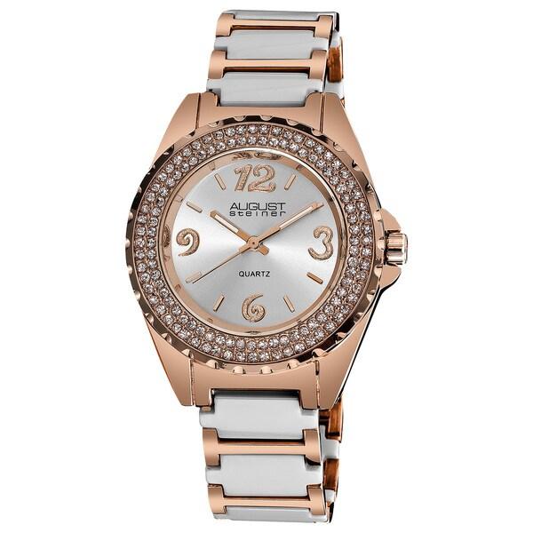 August Steiner Women's Quartz Crystal Studded Bezel Ceramic Link White Bracelet Watch