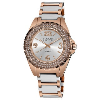 August Steiner Women's Quartz Crystal Studded Bezel Ceramic Link White Bracelet Watch
