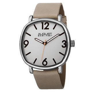 August Steiner Men's Classic Quartz Easy-to-Read Markers Leather Strap Watch