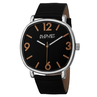 August Steiner Men's Classic Quartz Easy-to-Read Markers Leather Silver-Tone Strap Watch
