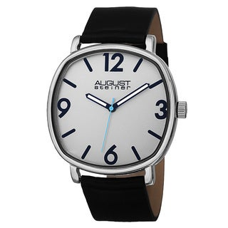 August Steiner Men's Classic Quartz Easy-to-Read Markers Leather Silver-Tone Strap Watch - silver
