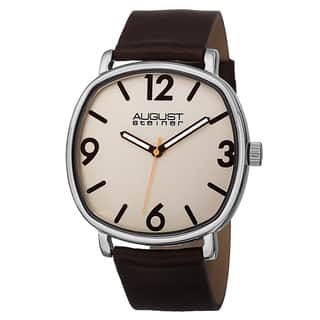 August Steiner Men's Classic Quartz Easy-to-Read Markers Leather Brown Strap Watch with FREE GIFT (Option: Brown)|https://ak1.ostkcdn.com/images/products/10199773/P17323953.jpg?impolicy=medium