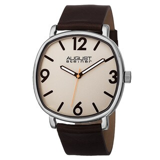 August Steiner Men's Classic Quartz Easy-to-Read Markers Leather Brown Strap Watch