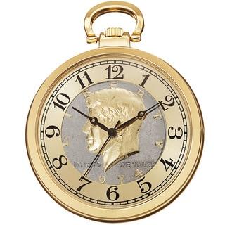 August Steiner Men's Quartz Kennedy Half Dollar Gold-Tone Coin Chain Watch