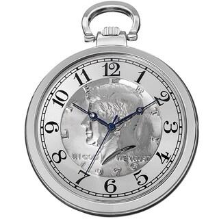 August Steiner Men's Quartz Kennedy Half Dollar Coin Chain Silver-Tone Watch