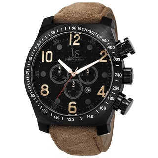 Joshua & Sons Men's Oversized Divers Chronograph Stainless Steel Sport Watch with FREE GIFT - Black
