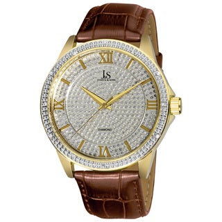 Joshua & Sons Men's Swiss Quartz Diamond-Accented Leather Gold-Tone Strap Watch