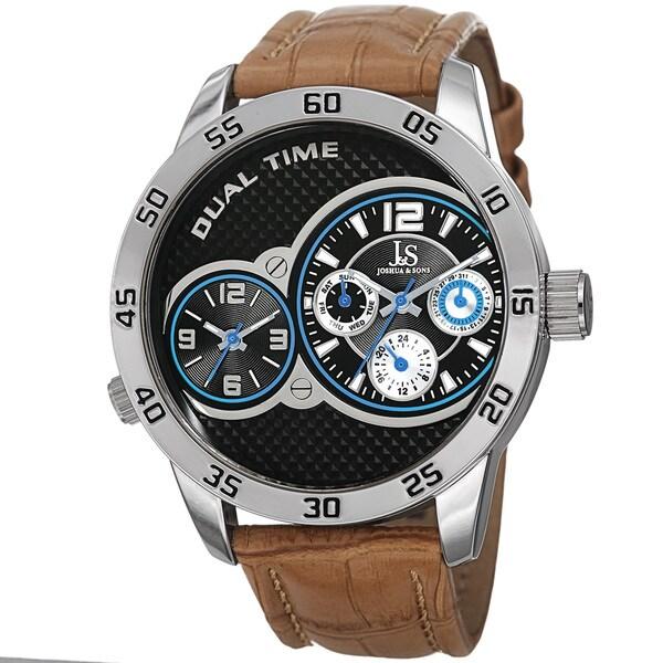 Joshua & Sons Men's Quartz Dual-Time Multifunction Leather Silver-Tone Strap Watch