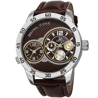 Joshua & Sons Men's Quartz Dual-Time Multifunction Leather Brown Strap Watch