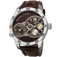 Joshua & Sons Men's Quartz Dual-Time Multifunction Leather Strap Watch
