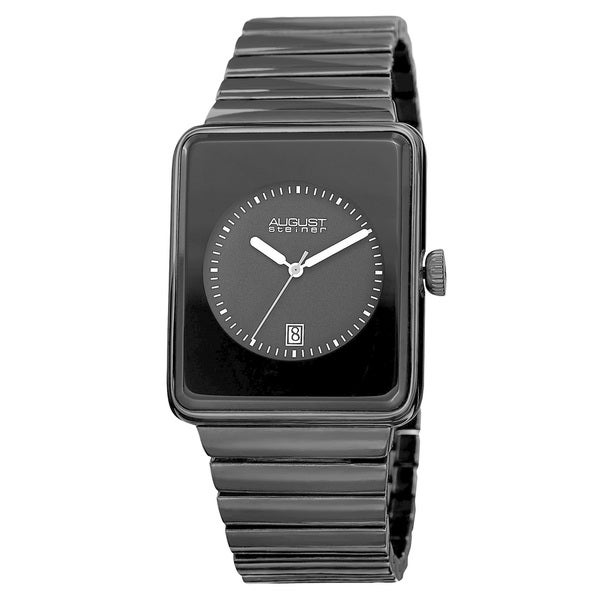 August Steiner Men's Classic Rectangular Case Quartz Black Bracelet Watch. Opens flyout.