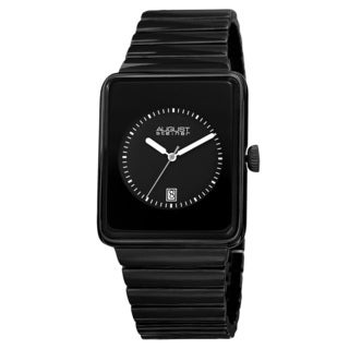 August Steiner Men's Classic Rectangular Case Quartz Black Bracelet Watch