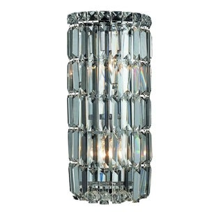 Elegant Lighting 8-inch 2-light Chrome Royal Cut Crystal Clear Wall Sconce