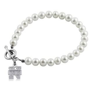 Handmade Navy Freshwater Pearl Bracelet (5-6mm)