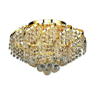 Elegant Lighting 6-light Gold 16-inch Royal Cut Crystal Clear Flush Mount