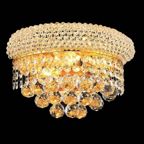 Elegant Lighting Crystal Clear 2-light Gold 12-inch Royal Cut Wall Sconce