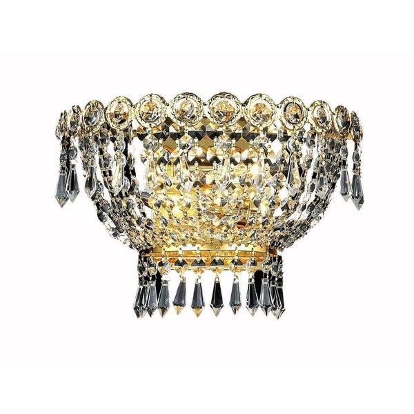 Elegant Lighting 2-light Gold 12-inch Royal Cut Crystal Clear Wall Sconce