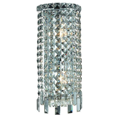 Elegant Lighting 2-light Chrome 8-inch Royal Cut Crystal Clear Wall Sconce