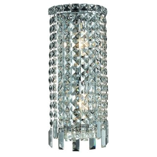 Elegant Lighting 2-light Chrome 8-inch Royal Cut Crystal Clear Wall Sconce