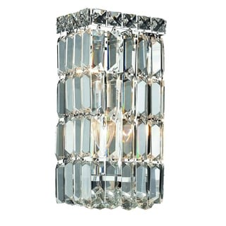 Elegant Lighting Crystal Clear 2-light Chrome 6-inch Royal Cut Wall Sconce