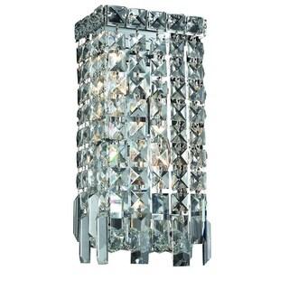 Elegant Lighting 2-light Chrome 6-inch Royal Cut Crystal Clear Wall Sconce