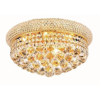 Elegant Lighting Gold 16-inch Royal Cut Crystal Clear Flush Mount