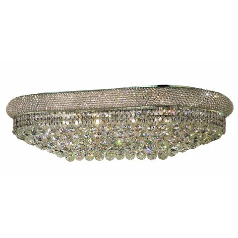 Elegant Lighting Chrome 36-inch Royal Cut Crystal Clear Flush Mount