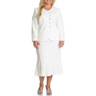 Mia-Suits Women's Plus Size Zig-zag Embellished 2-piece Skirt Suit