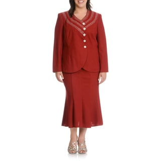 Mia-Suits Women's Plus Size Zig-zag Embellished 2-piece Skirt Suit