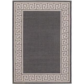 Ecarpetgallery Knossos Black Light Gray Open Field Indoor Outdoor Rug (5'3 x 7'7)
