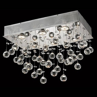 Elegant Lighting Chrome Royal Cut 20-inch Crystal Clear Flush Mount