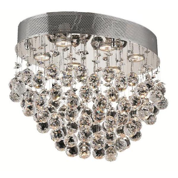 Elegant Lighting Chrome 20-inch Royal Cut Crystal Clear Flush Mount ...