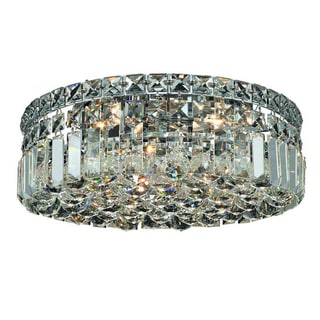 Elegant Lighting 14-inch 4-light Chrome Royal Cut Crystal Clear Flush Mount