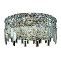 Elegant Lighting Chrome 14-inch 4-light Royal Cut Crystal Clear Flush Mount