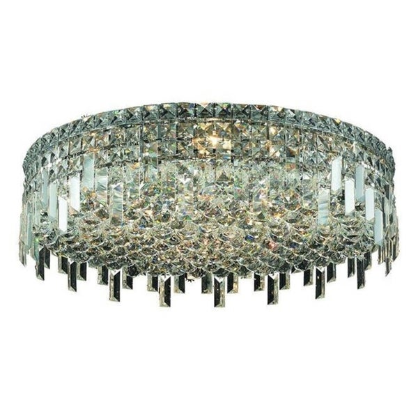 Elegant Lighting 9-light Chrome 24-inch Royal Cut Crystal Clear Flush Mount