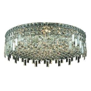 Elegant Lighting 9-light Chrome 24-inch Royal Cut Crystal Clear Flush Mount