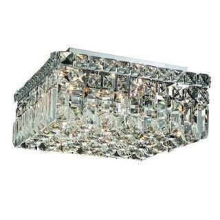 Elegant Lighting Chrome 4-light 12-inch Royal Cut Crystal Clear Flush Mount