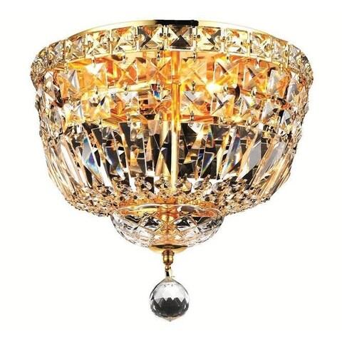 Elegant Lighting 4-light Gold 12-inch Royal Cut Crystal Clear Flush Mount