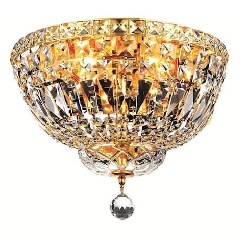 Elegant Lighting 4-light Gold 14-inch Royal Cut Crystal Clear Flush Mount