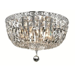 Elegant Lighting Chrome Royal Cut 6-light 16-inch Crystal Clear Flush Mount
