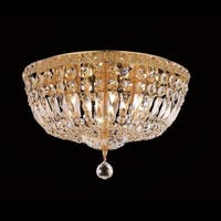 Elegant Lighting 6-light Gold Crystal Clear 16-inch Royal Cut Flush Mount
