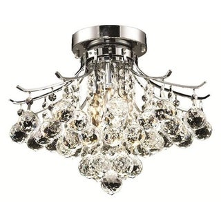 Elegant Lighting 3-light Chrome 16-inch Royal Cut Crystal Clear Flush Mount