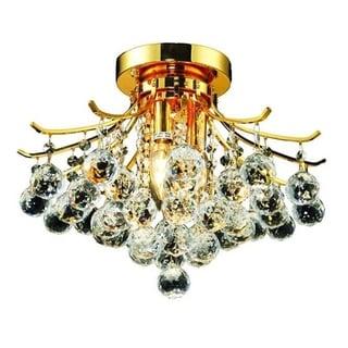 Elegant Lighting 3-light Gold 16-inch Royal Cut Crystal Clear Flush Mount