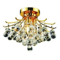 Elegant Lighting 3-light Gold 16-inch Royal Cut Crystal Clear Flush Mount