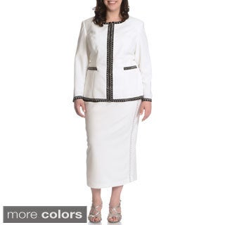 Mia-Knits Collections Women's Plus Size Rhinestone Trim 2-piece Skirt Suit