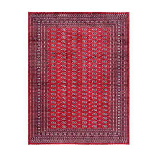 Herat Oriental Pakistani Hand-knotted Bokhara Red/ Ivory Wool Rug (8'10 x 11'8)