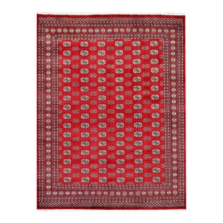Herat Oriental Pakistani Hand-knotted Bokhara Red/ Ivory Wool Rug (8'1 x 10'7)