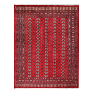 Herat Oriental Pakistani Hand-knotted Bokhara Red/ Ivory Wool Rug (8'1 x 10'5)
