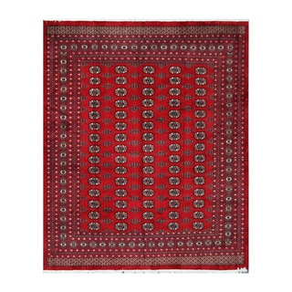 Herat Oriental Pakistani Hand-knotted Bokhara Red/ Ivory Wool Rug (8'4 x 10'1)