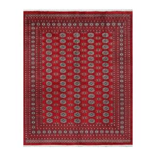 Herat Oriental Pakistani Hand-knotted Bokhara Red/ Ivory Wool Rug (8' x 9'9)